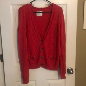 American Eagle red cardigan with 5 buttons